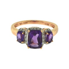 Amethyst and Diamond Fashion Statement Rose Gold Ring