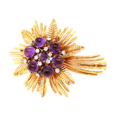 Amethyst and Diamond Flower Brooch in 18K Yellow Gold