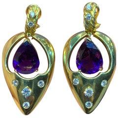 Amethyst and Diamond Gold Dangle Earrings