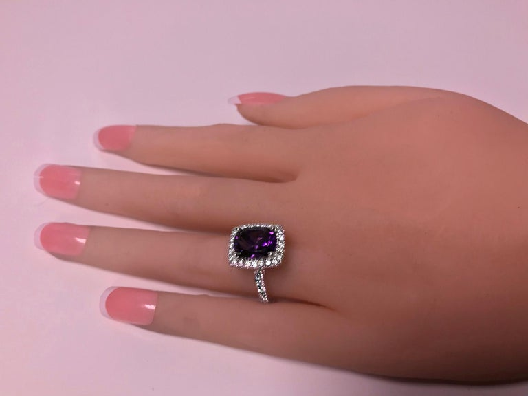 Amethyst and Diamond Gold Ring, 20th Century For Sale 1