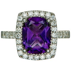 Amethyst and Diamond Gold Ring, 20th Century