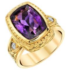 Amethyst and Diamond Handmade Yellow Gold Engraved Bezel Signet Band Ring