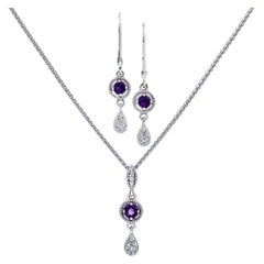 Amethyst and Diamond Necklace and Earring Set in 14 Karat White Gold