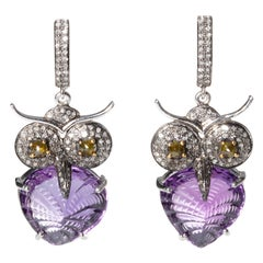 Amethyst and Diamond Owl Dangle Earrings