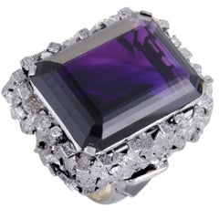 Amethyst and Diamond Platinum Cocktail Ring