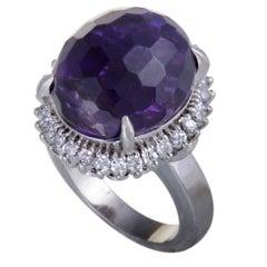 Amethyst and Diamond Platinum Cocktail Ring