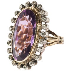 Amethyst and Diamond Ring Victorian Era Unisex
