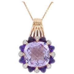 Amethyst and Diamond Rose Gold Necklace