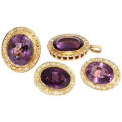 Amethyst and Diamond Set, Consisting of a Pendant, Ear Clips Earrings and Ring