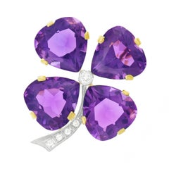 Amethyst and Diamond Set Gold Clover Brooch
