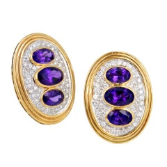 Amethyst and Diamonds on 18 Karat Yellow Gold Ear Clips Earrings