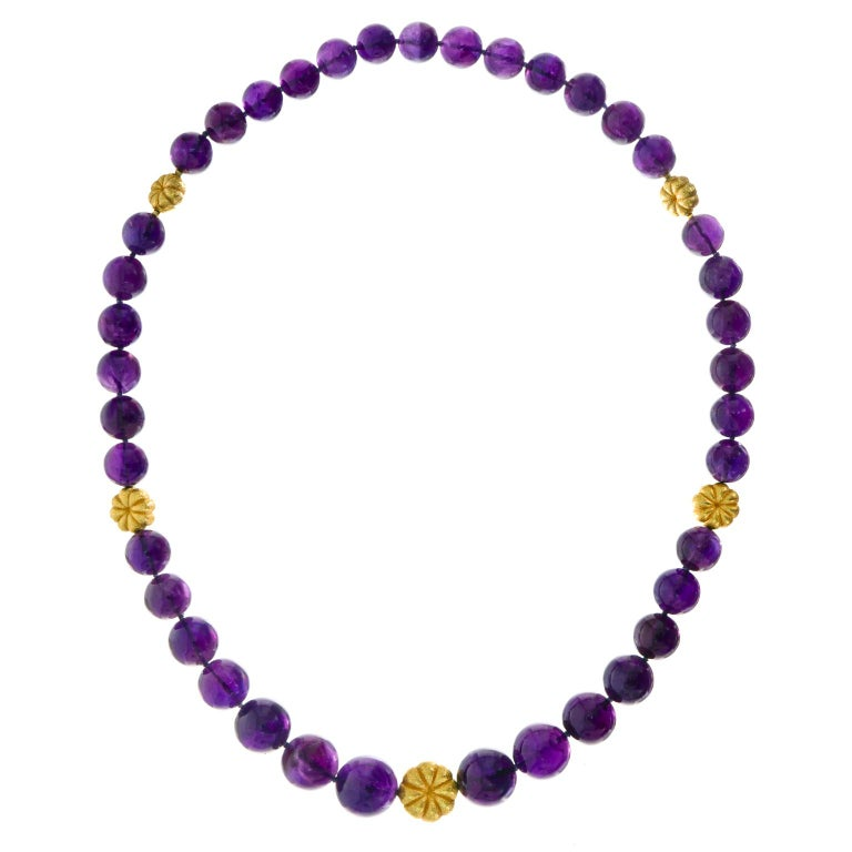 Amethyst and Gold Bead Necklace and Bracelet In Excellent Condition For Sale In Litchfield, CT