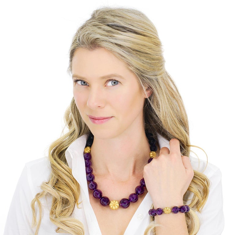 Women's Amethyst and Gold Bead Necklace and Bracelet For Sale