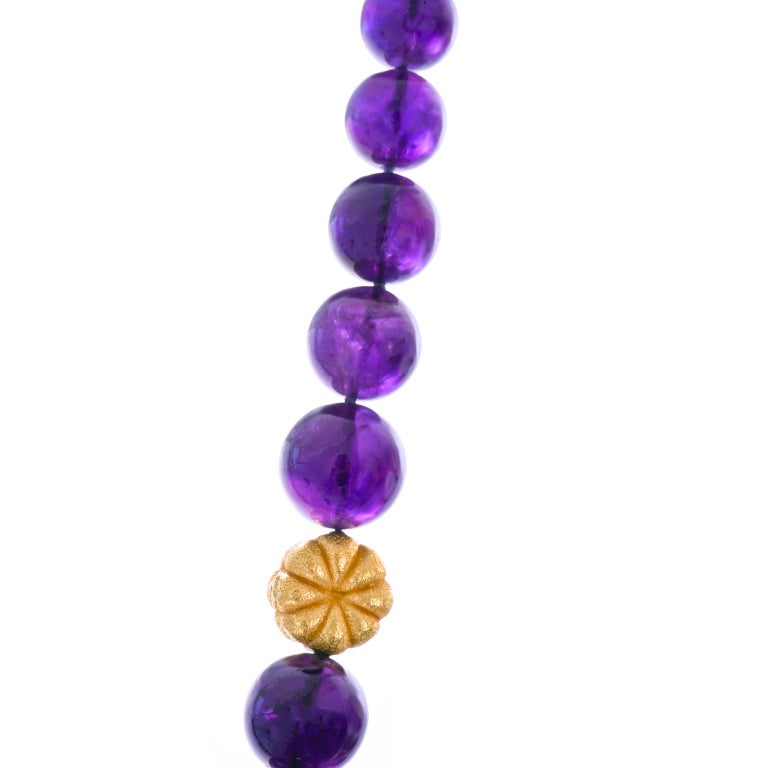 Amethyst and Gold Bead Necklace and Bracelet For Sale 1