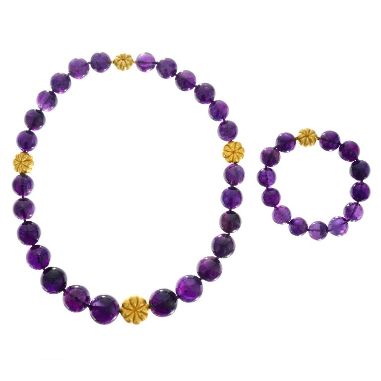 Amethyst and Gold Bead Necklace and Bracelet For Sale 3