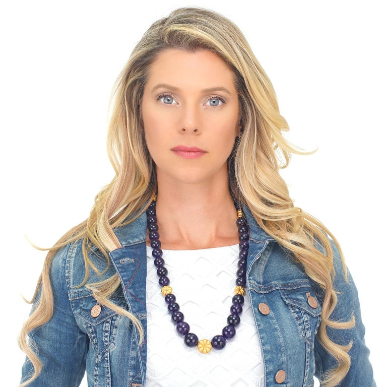 Amethyst and Gold Bead Necklace and Bracelet For Sale 5