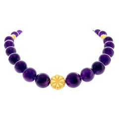 Amethyst and Gold Bead Necklace and Bracelet