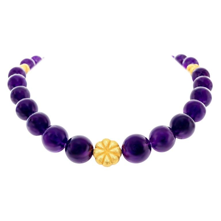 Amethyst and Gold Bead Necklace and Bracelet For Sale