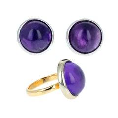 Amethyst und Gold Ohrring und Ring-Set