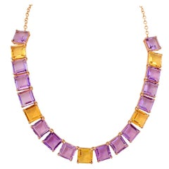Amethyst and Honey Quartz Necklace in 18 Karat Rose Gold with Diamonds