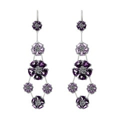 Amethyst and Lavender Amethyst Blossom Double-Tier Chandelier Earrings