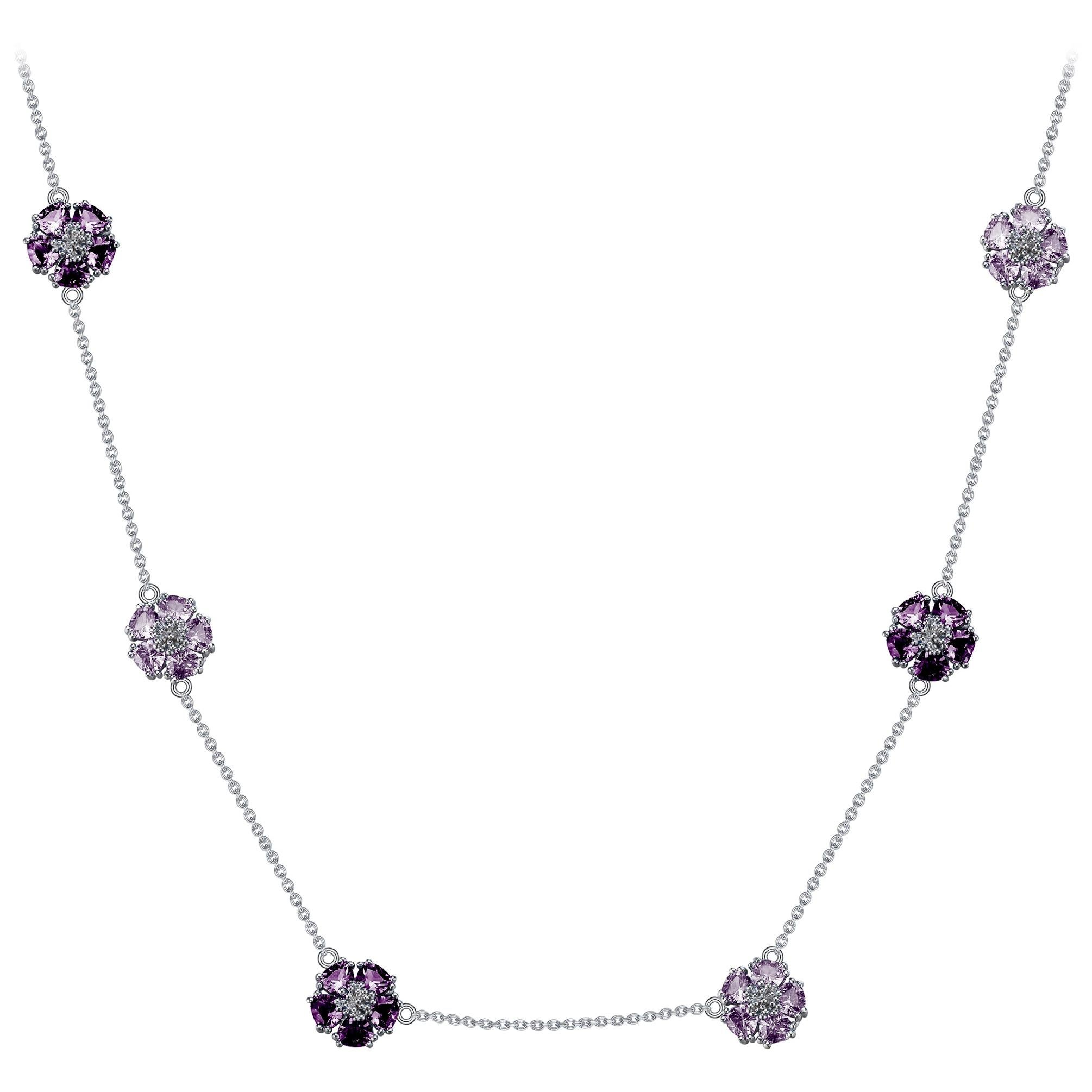 Amethyst and Lavender Amethyst Blossom Gentile Chain Necklace