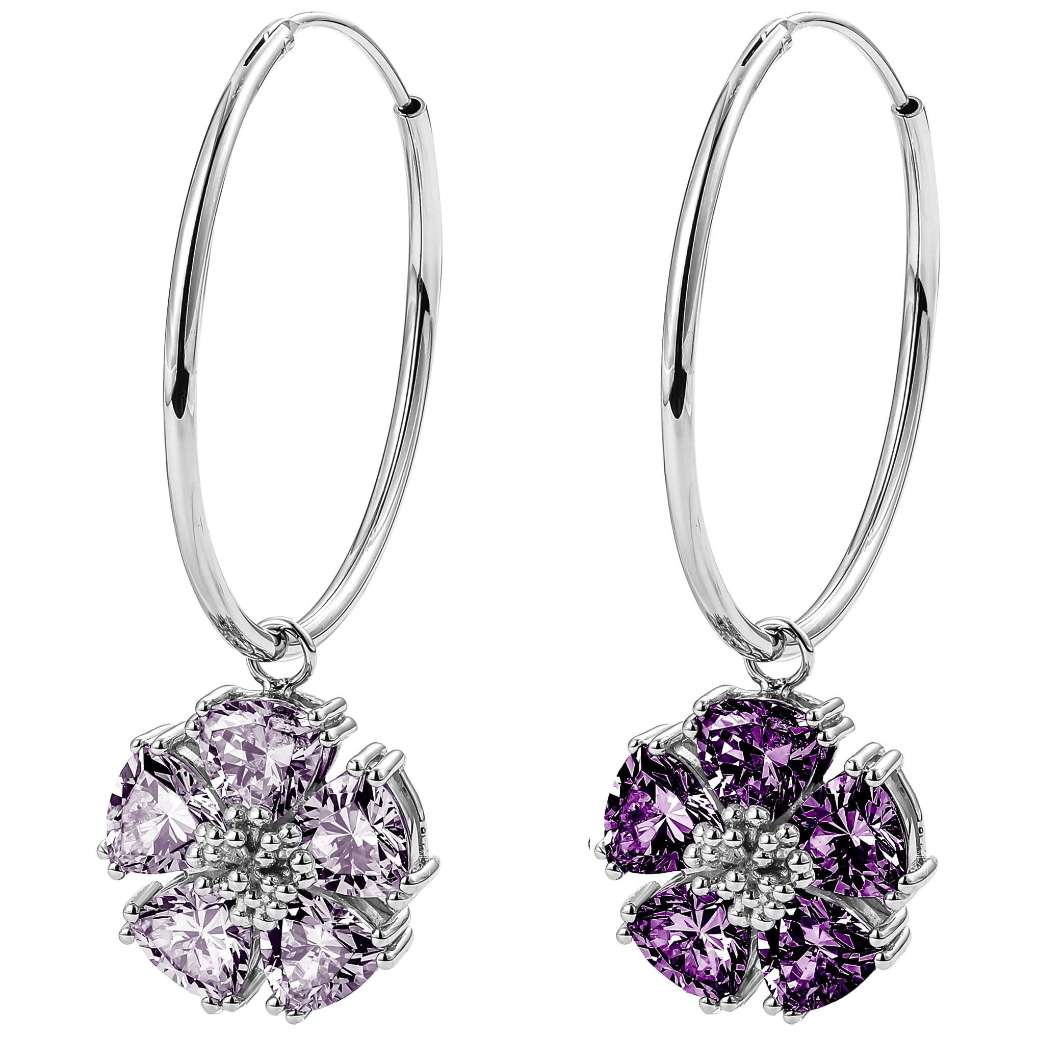 Amethyst and Lavender Amethyst Medium Mismatched Blossom Gemstone Hoops