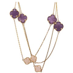 Amethyst and Mother of Pearl Flower Necklace