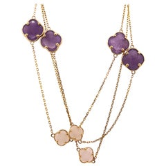 Amethyst and Mother of Pearl Clover Flower Necklace 36 In Chain 14K Yellow Gold