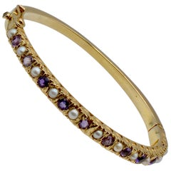 Amethyst and Natural Pearl and 14 Karat Gold Victorian Clamper Bracelet