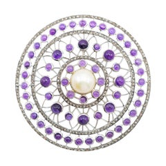 Amethyst and Pearl Pendent in Sterling Silver with Diamonds