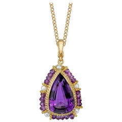 Amethyst and Pearl Pendent Necklace, 18K Handmade Fillegree Victorian Inspired