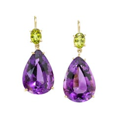 Amethyst and Peridot 18 Karat Yellow Gold Earrings