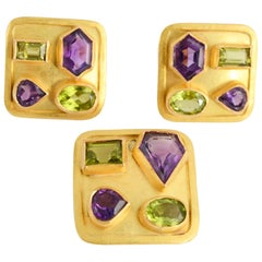 Amethyst and Peridot Gold Earrings and Pendant