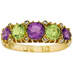 Amethyst and Peridot Suffragette Ring