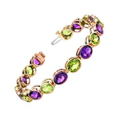 Amethyst and Peridot White and Rose Gold Bezel Set Tennis Bracelet
