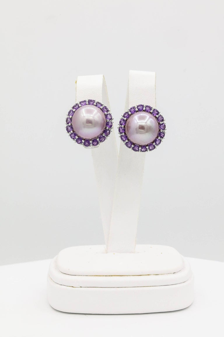 18K white Gold Freshwater pearl 13-14mm Amethyst 2.45 Cts. Diamonds 0.22 Cts.