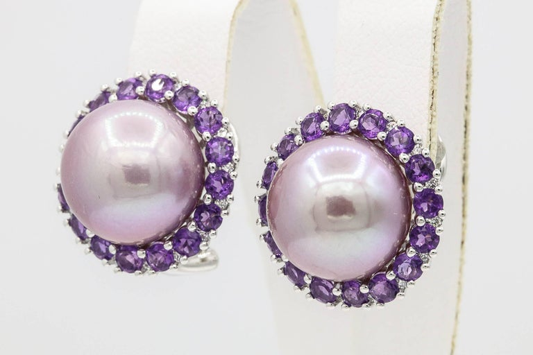 Contemporary Amethyst and Pink Freshwater Pearl Diamond Studs Earrings For Sale