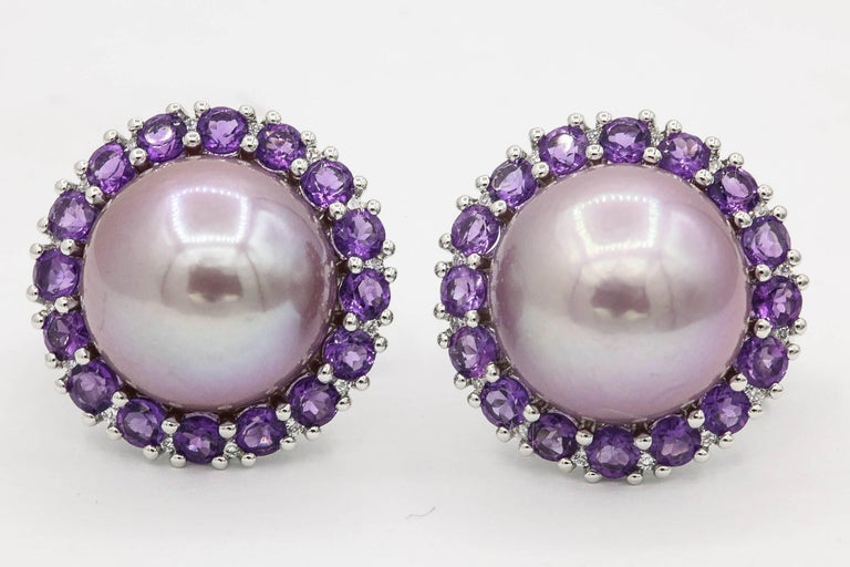 Round Cut Amethyst and Pink Freshwater Pearl Diamond Studs Earrings For Sale