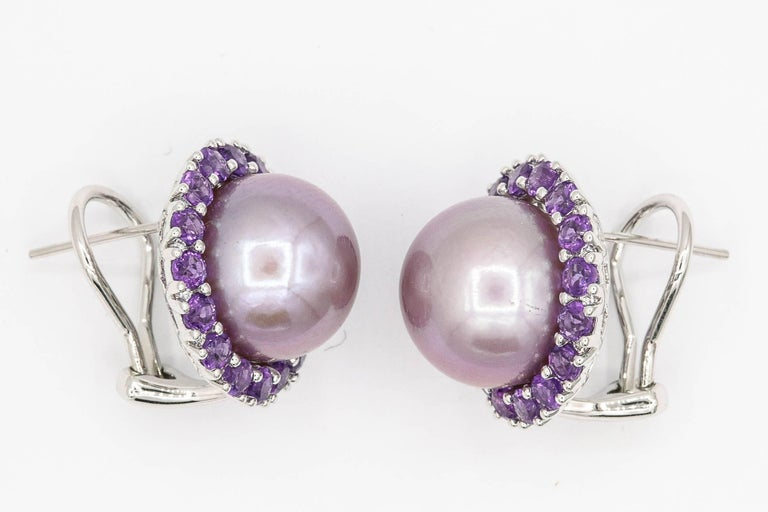 Amethyst and Pink Freshwater Pearl Diamond Studs Earrings In New Condition For Sale In New York, NY