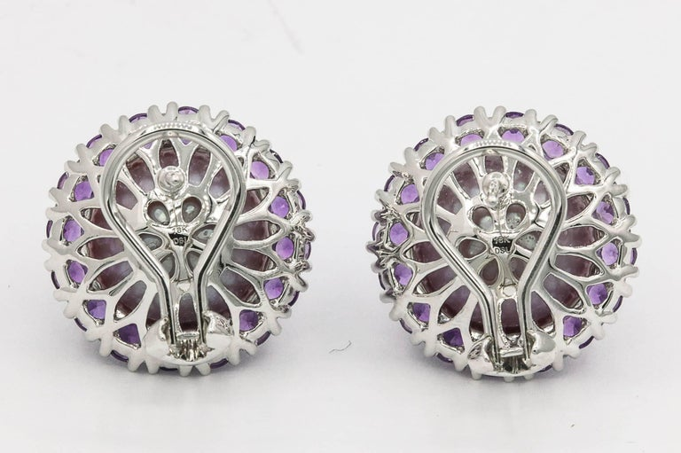 Women's Amethyst and Pink Freshwater Pearl Diamond Studs Earrings For Sale