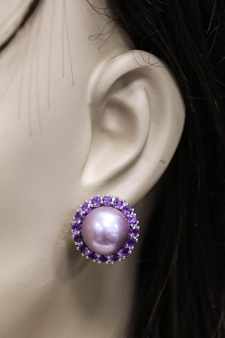 Amethyst and Pink Freshwater Pearl Diamond Studs Earrings For Sale 1