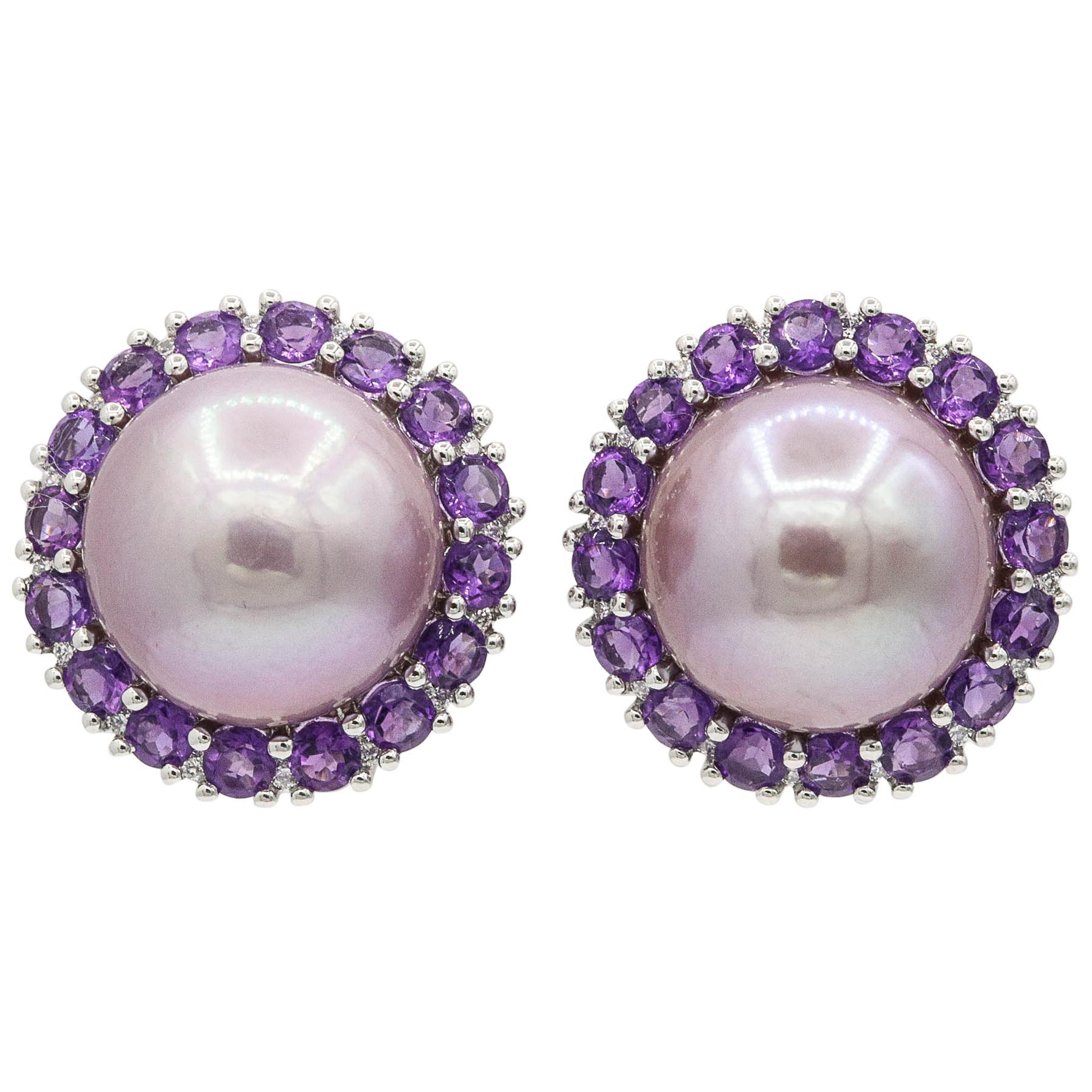 Amethyst and Pink Freshwater Pearl Diamond Studs Earrings