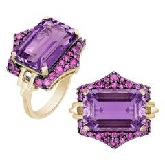 Goshwara Emerald Cut Amethyst and Pink Sapphire Ring