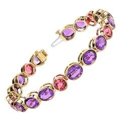 Amethyst and Pink Tourmaline, Yellow and Rose Gold Bezel Set Tennis Bracelet