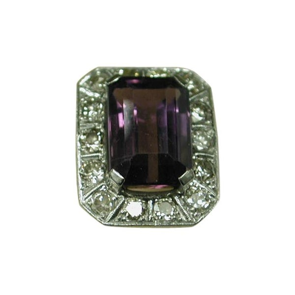 Amethyst and Platinum Ring with Diamond Surround, Dated circa 1920