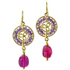 Amethyst and Rubellite Tourmaline yellow Gold Earrings