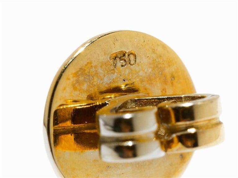 Amethyst and Sapphire Tube Hanger Earrings in 18 Karat Gold In New Condition For Sale In Bad Kissingen, DE