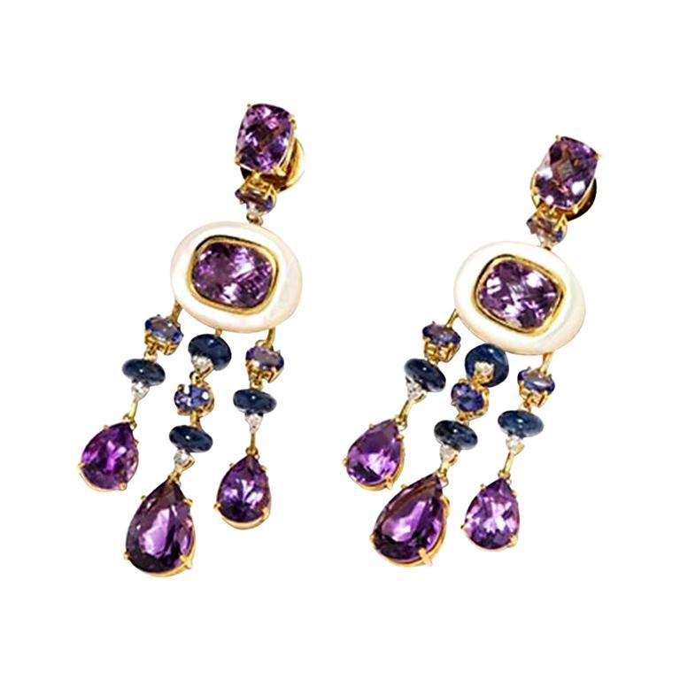 Amethyst and Sapphire Tube Hanger Earrings in 18 Karat Gold