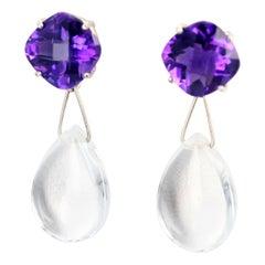 Amethyst and Silver Quartz Dangle Earrings